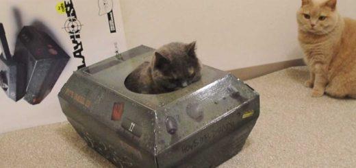 ジリジリと怪しく動く猫戦車、砲弾代わりに猫が飛び出て