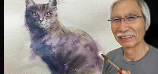 水彩で猫を上手に描くコツ、5分の動画でプロが解説
