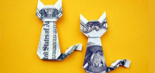 お年玉に猫のオブジェの折り紙を、千円札でも制作可能