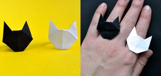 折り紙で作る猫顔の指輪、黒でも白でも15ステップで